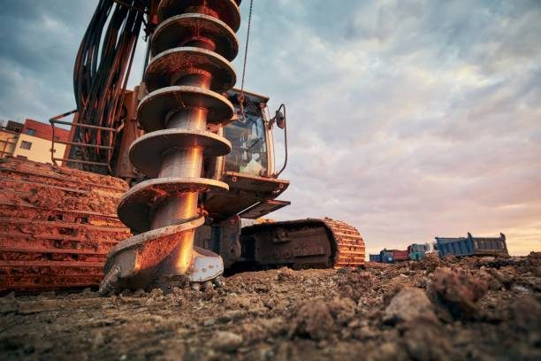 działalność budowlana na placu budowy - geologia zdjęcia i obrazy z banku zdjęć