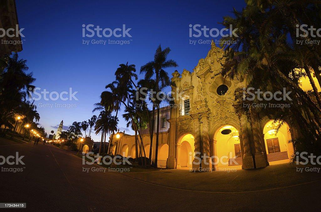 Building along El Prado at Balboa Park in San Diego royalty-free stock photo