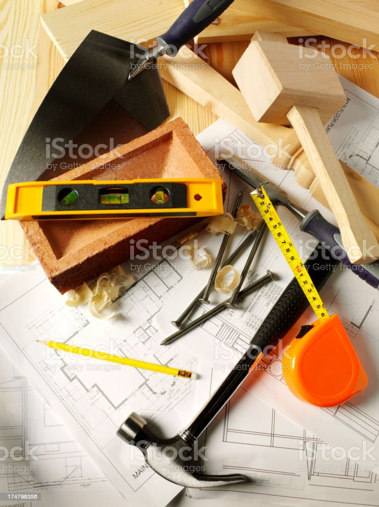 Building and Carpentry Tools on Blueprints royalty-free stock photo