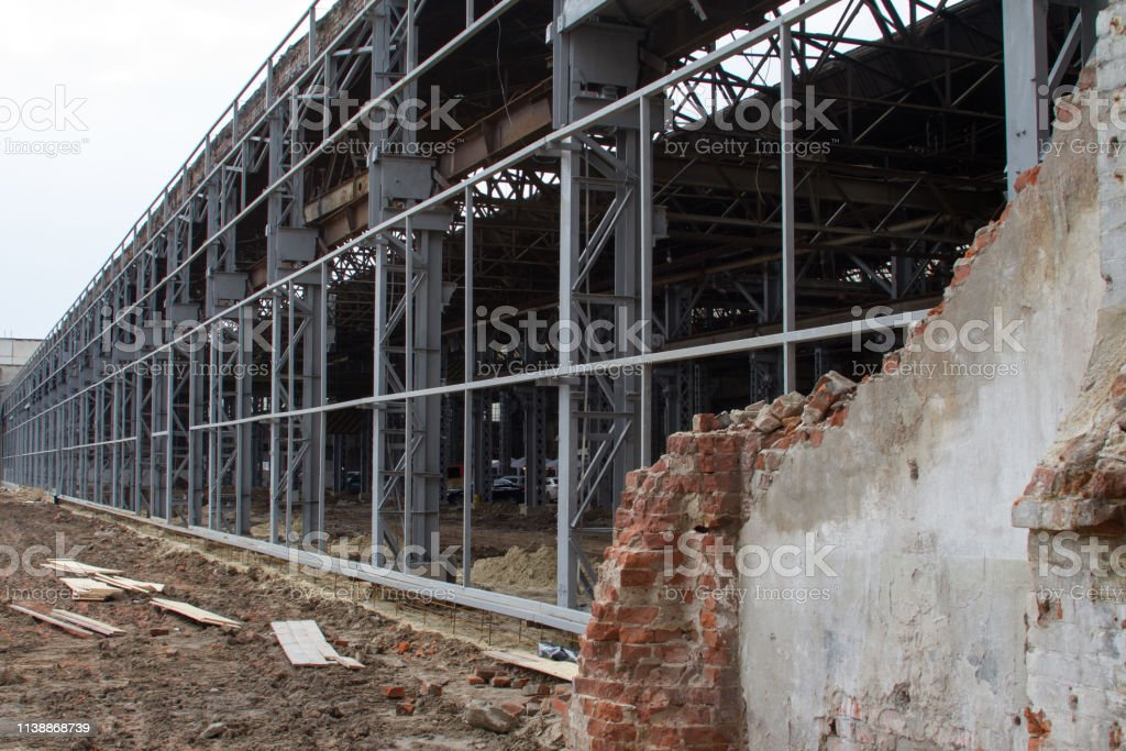 Building and construction materials for sale stored on metal shelves...