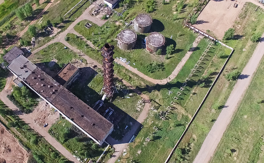 The building and infrastructure of an old abandoned thermal power plant. view from above.