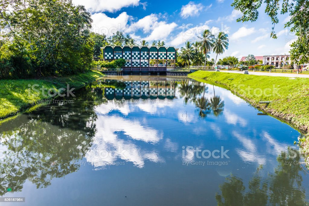Building and nature of the historic city of Paramaribo, Suriname. The historic inner city of Paramaribo is a UNESCO World Heritage Site since 2002. stock photo