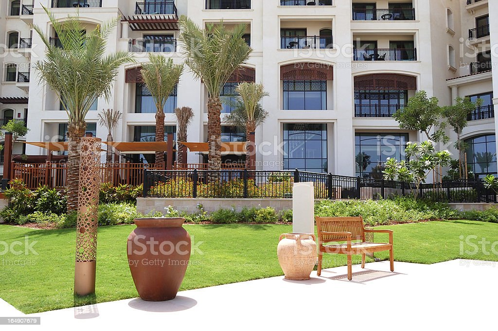 Building and recreation area of the luxury hotel stock photo