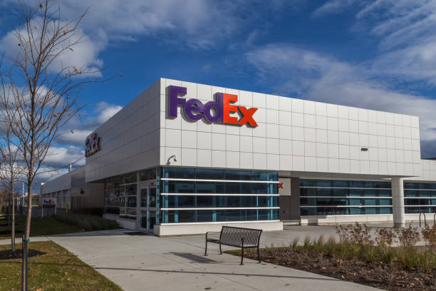 Building and sign of FedEx Ship Centre in Toronto. stock photo