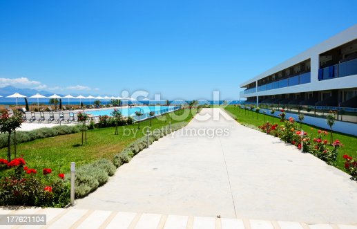 946294510 istock photo Building and swimming pool at modern luxury hotel, Peloponnes, Greece 177621104