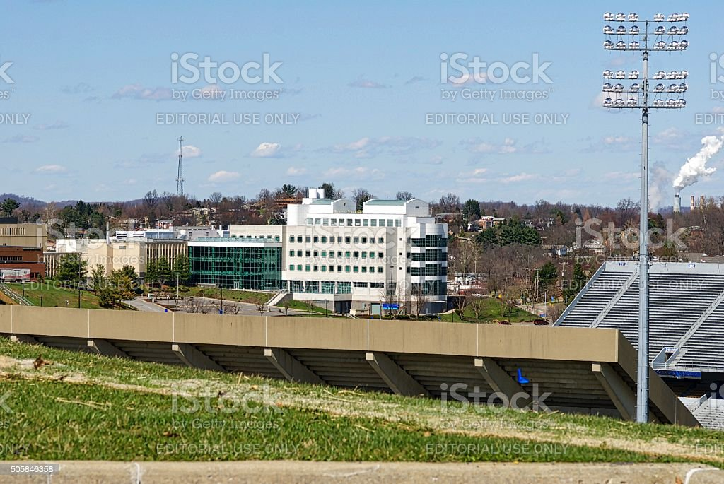 OSHA Building and West Virginia University's Mountaineer Field stock photo