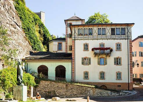 Building architecture at old town of Sion Valais Switzerland