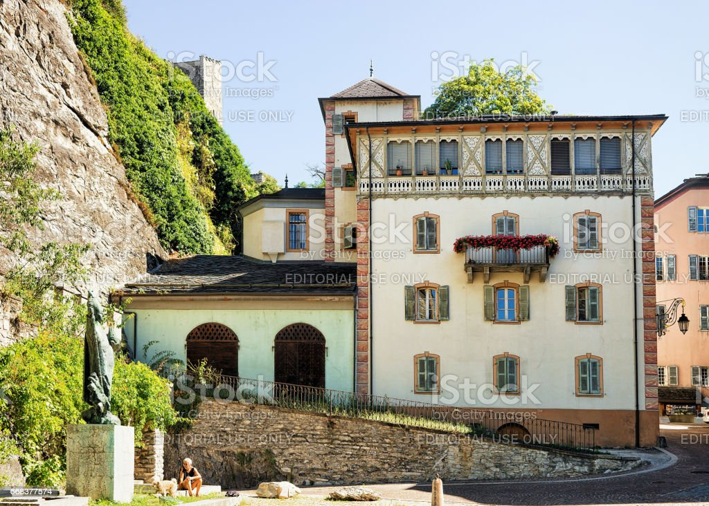 Building architecture at old town of Sion Valais Switzerland stock photo