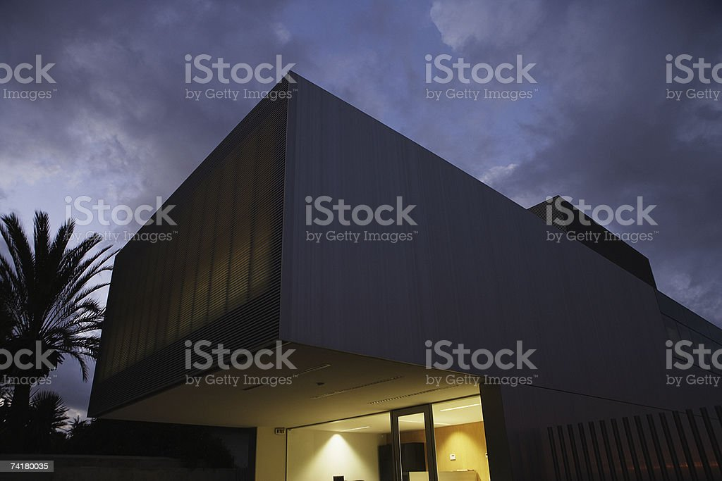 Building at night with sky and palm trees royalty-free stock photo