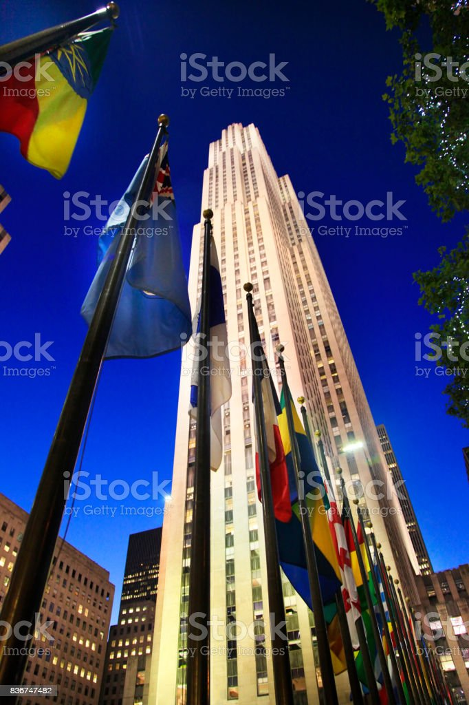 GE Building at Rockefeller Center at night stock photo