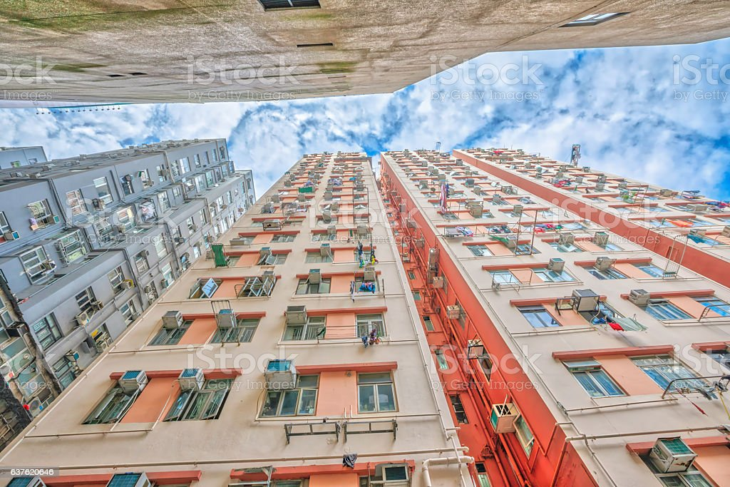 Building background in the sky stock photo