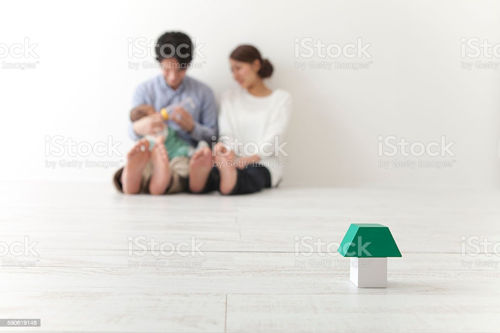 Building blocks and japanese family stock photo