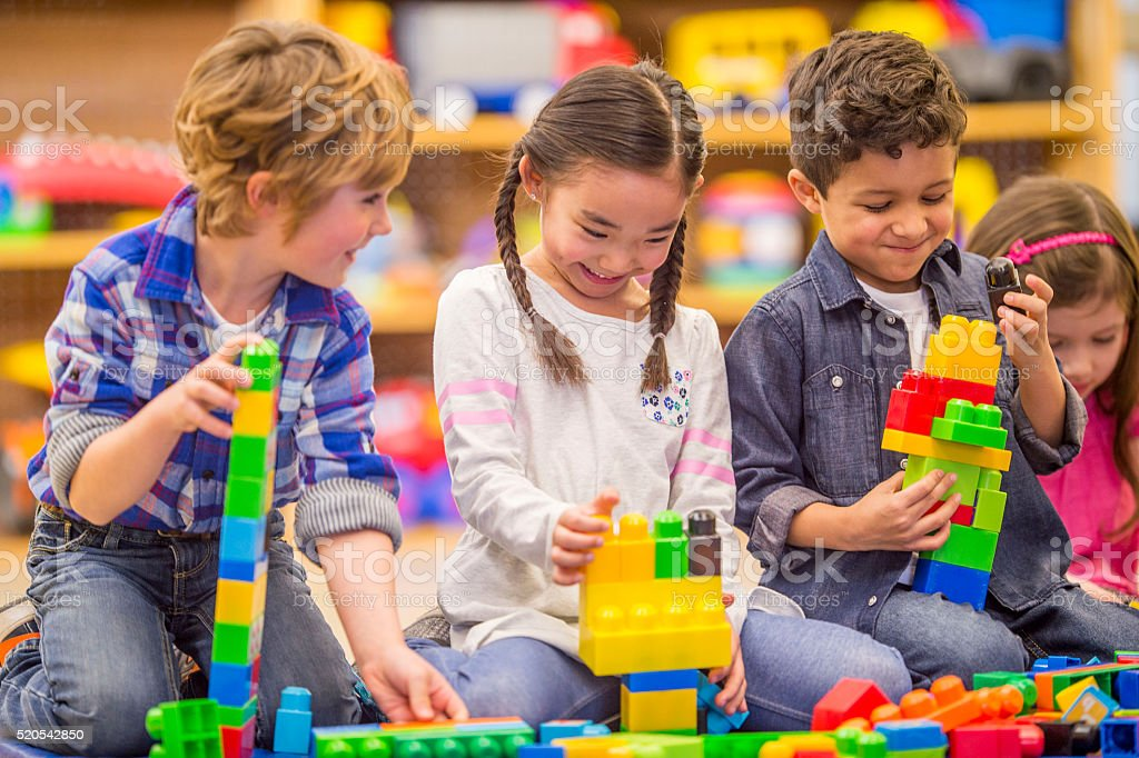 Building Blocks Together in Class stock photo
