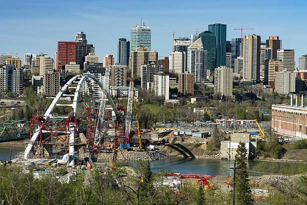 Building bridges new Landmark in the city stock photo