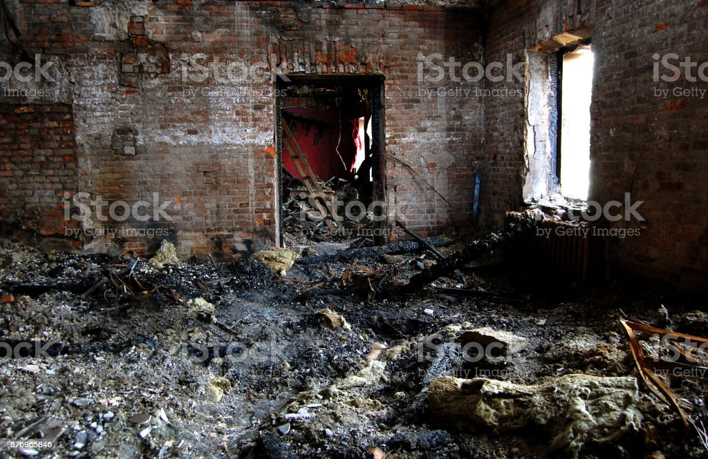 building burned stock photo