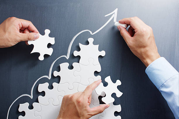 Building business. Concept image of developing growth strategy. stock photo