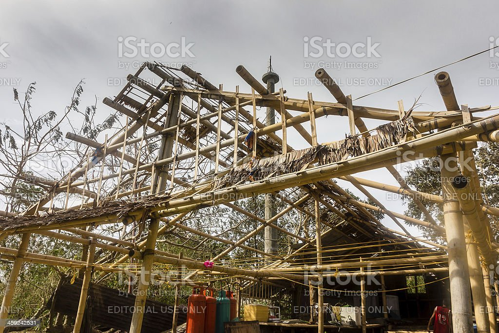 Building Completely Stripped Of Its Roof By Typhoon Haiyan stock photo