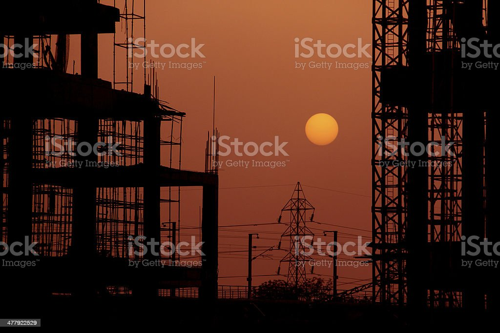 Building Construction site at Sunset Dusk royalty-free stock photo