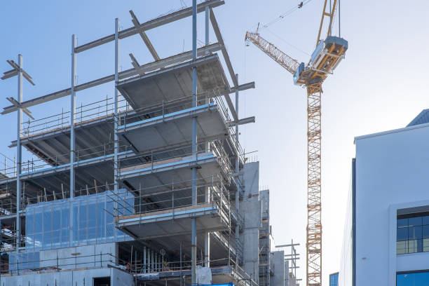 Building construction site with a crane in Auckland, New Zealand, NZ stock photo