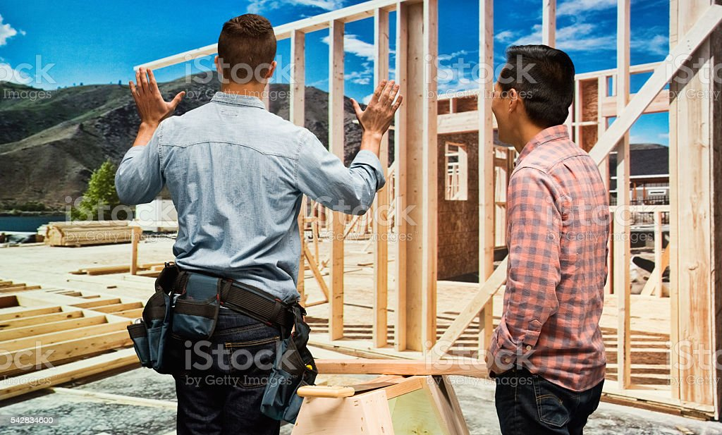 Building contractor gesturing...