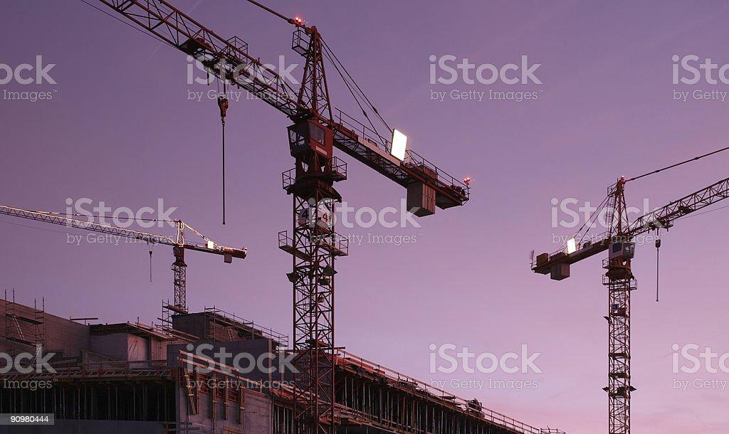 Building Cranes in Twilight Purple royalty-free stock photo