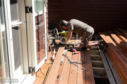DIY building deck at domestic home in New Zealand