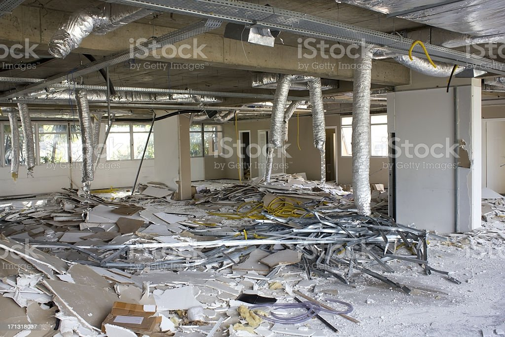 Building demolished stock photo
