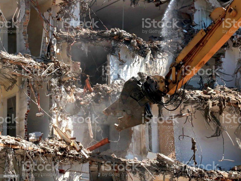 Building demolition machine stock photo
