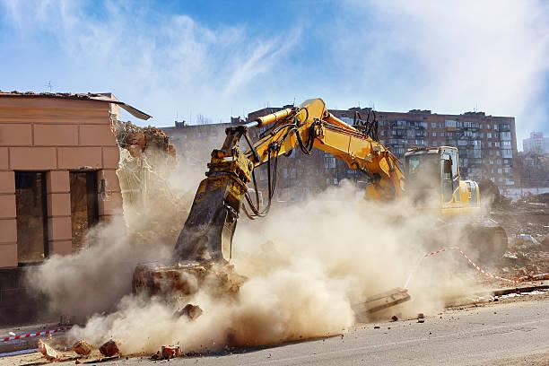 Building demolition stock photo