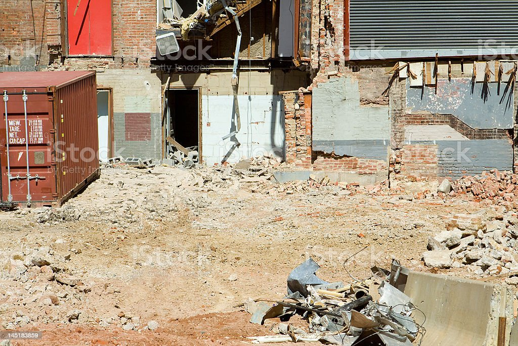 Building Demolition Site with Rubble and a Storage Container royalty-free stock photo