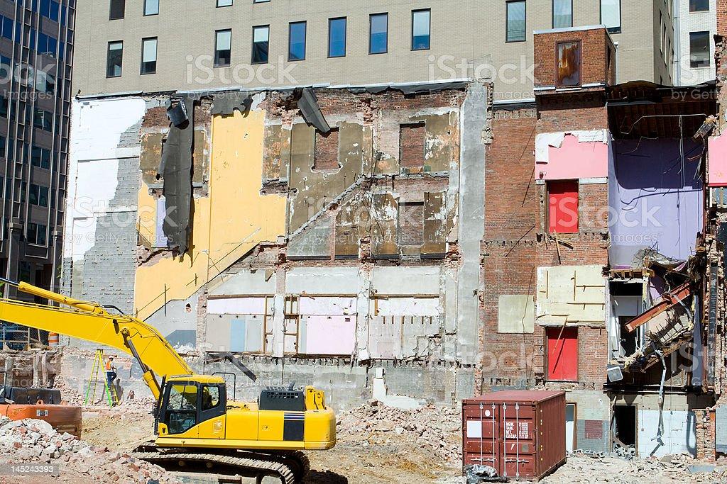 Building Demolition Underway with Heavy Equipment, Washington, DC, USA royalty-free stock photo