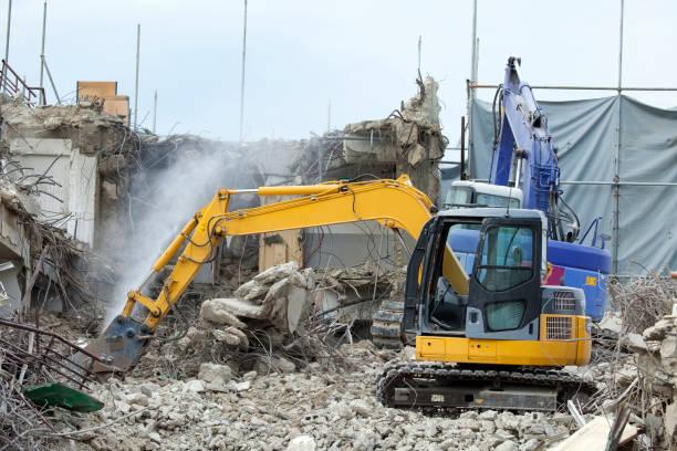 Building demolition work stock photo