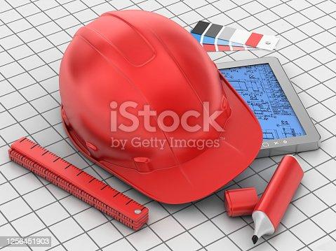 3d render. Preparation for construction works.