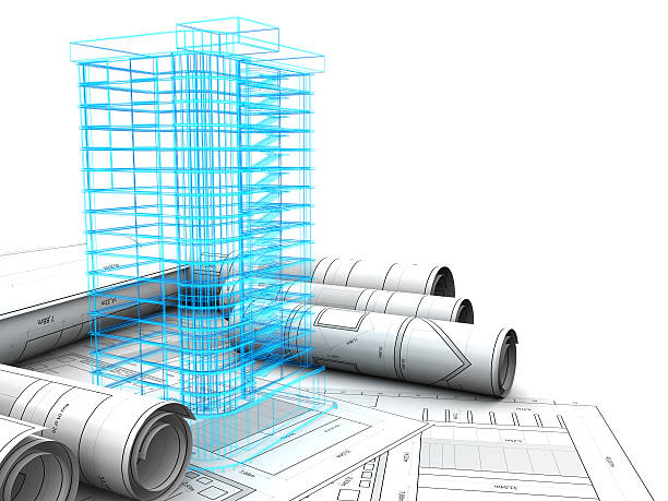 building design - wire frame model stock photos and pictures