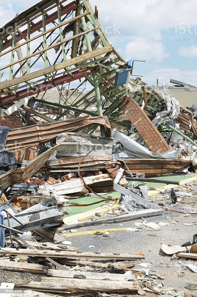 Building destroyed by tornado stock photo