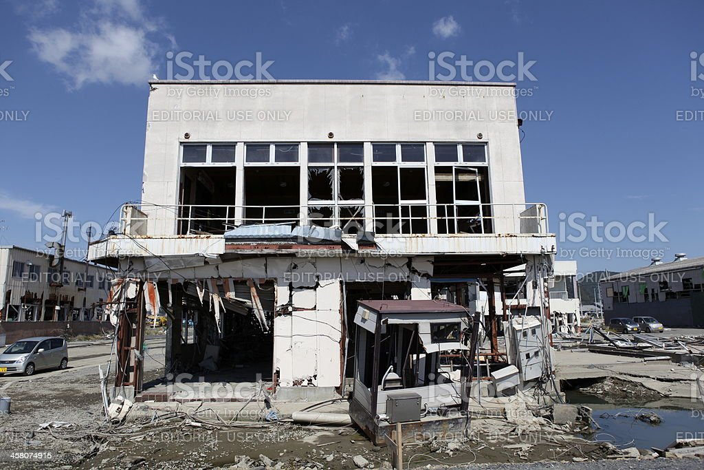 Building destroyed by Tsuanmi royalty-free stock photo
