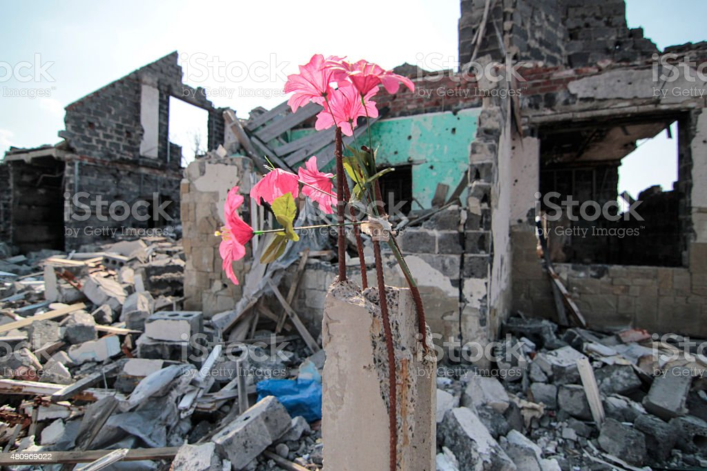 building destroyed stock photo