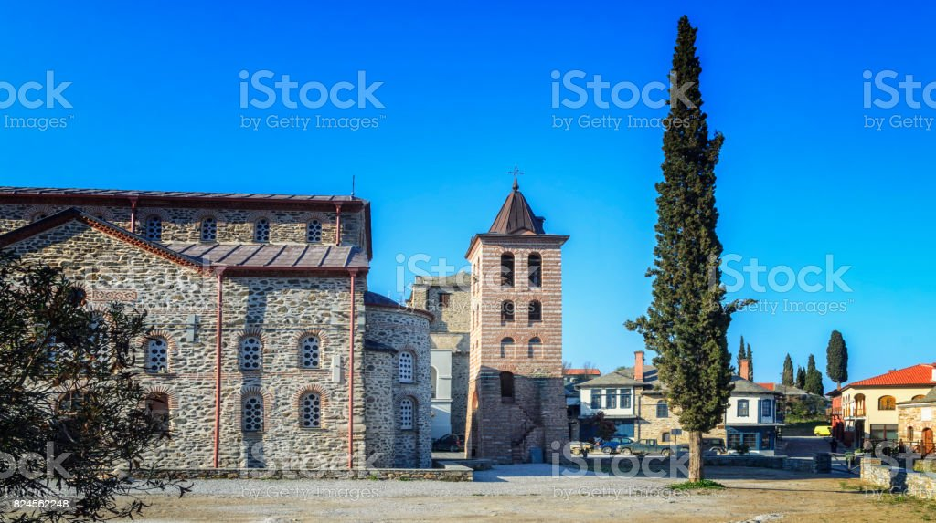 Building details in Karyes on Holy Mount Athos, Greece stock photo
