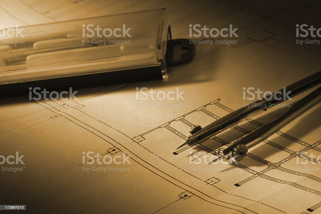 building drawing and tools royalty-free stock photo