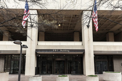 Entrance to the FBI Building in Washington, DC.