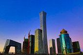 Beijing 2018 city, shooting construction site, tower crane,