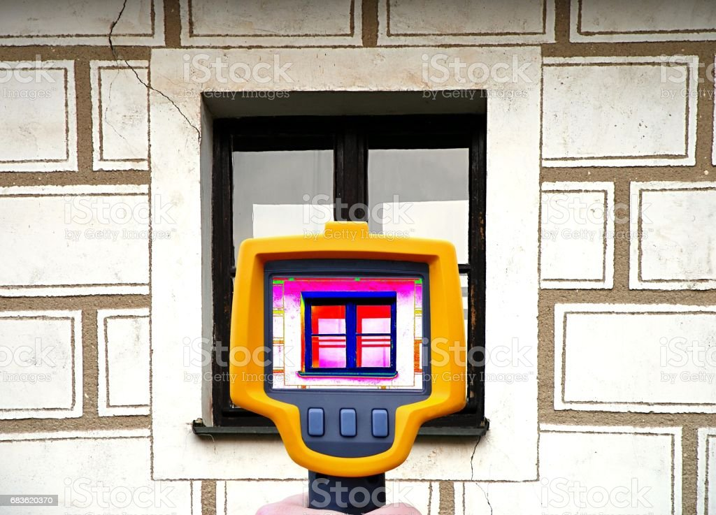 Building facade heat loss stock photo