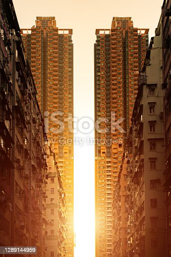 Building facade in Hong Kong, residential real estate