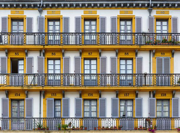 building facade in san sebastian, spain - san sebastian donostia stock-fotos und bilder