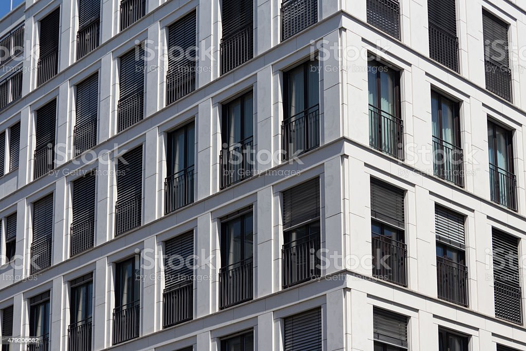 building facade  - real estate office and residental building exterior stock photo
