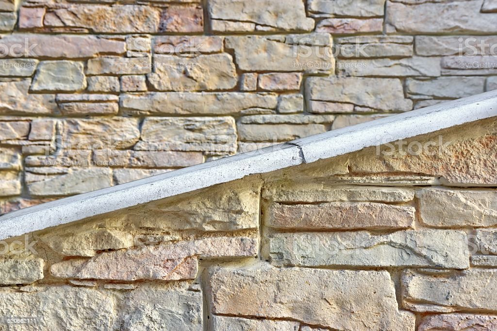 Building Facade Stone Wall With Ramp Or Stairway Royalty Free Stock Photo