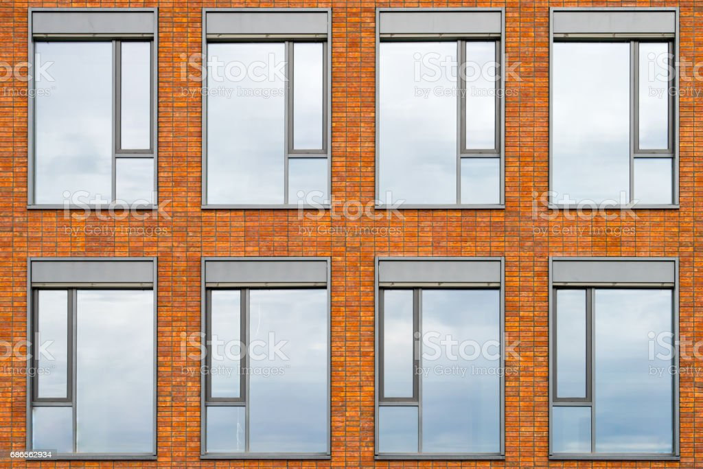 Building facade with 8 windows royalty-free stock photo