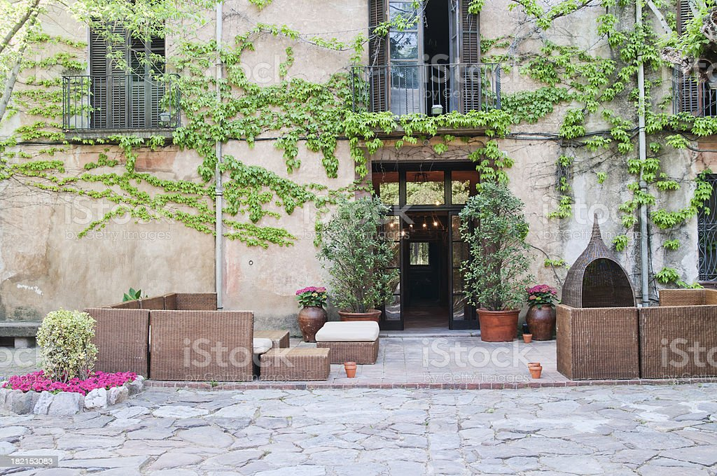 Building facade with plants royalty-free stock photo