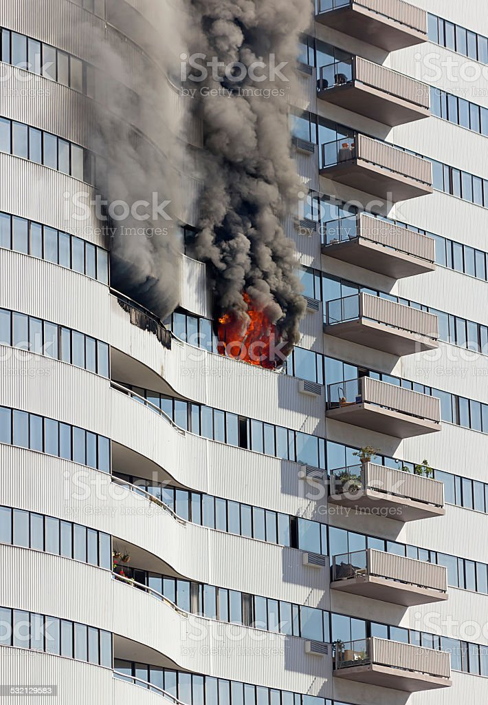 Building Floor on Fire stock photo