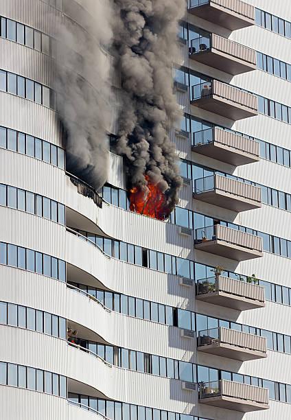 Building Floor on Fire stock photo